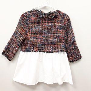 NEW ZARA tweed blouse top XS